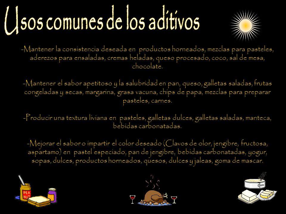 Usos comunes de los aditivos