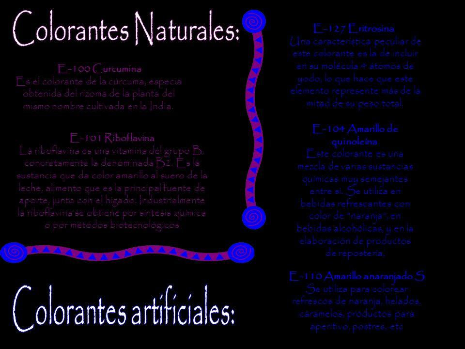 Colorantes Naturales: Colorantes artificiales: