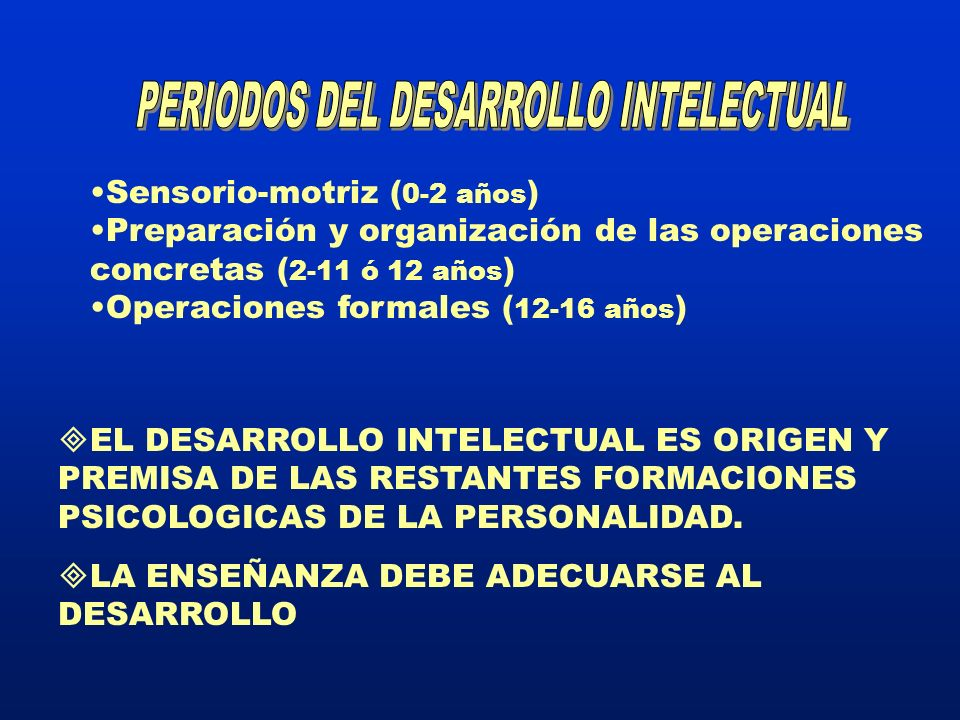 PERIODOS DEL DESARROLLO INTELECTUAL