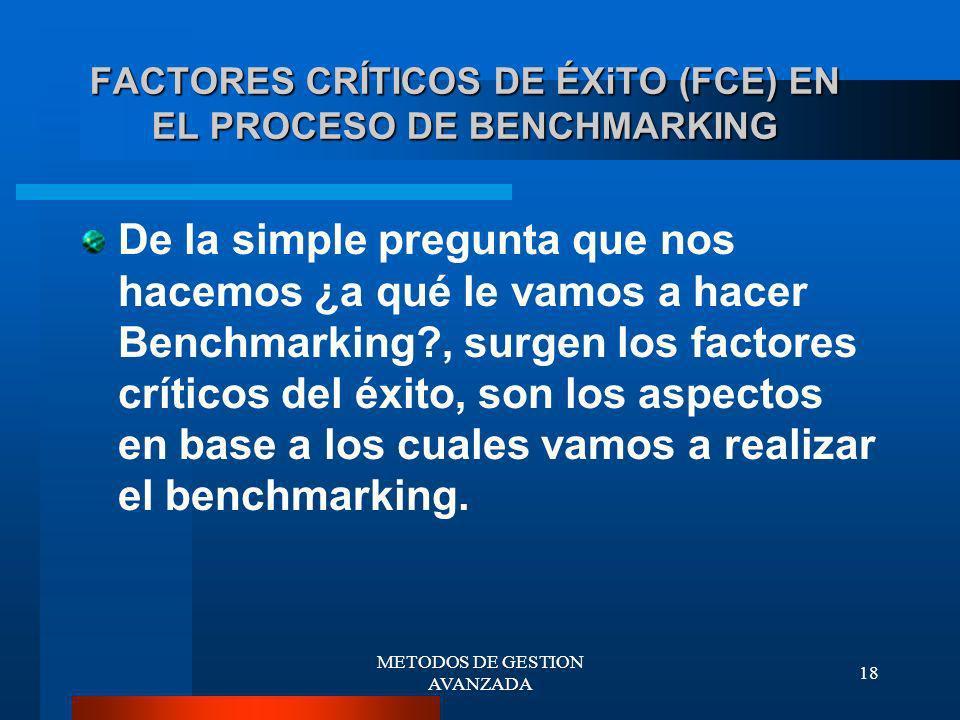 FACTORES CRÍTICOS DE ÉXiTO (FCE) EN EL PROCESO DE BENCHMARKING