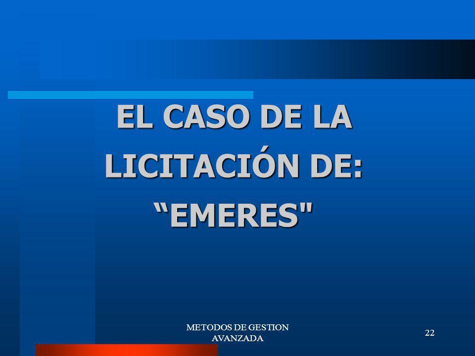 EL CASO DE LA LICITACIÓN DE: