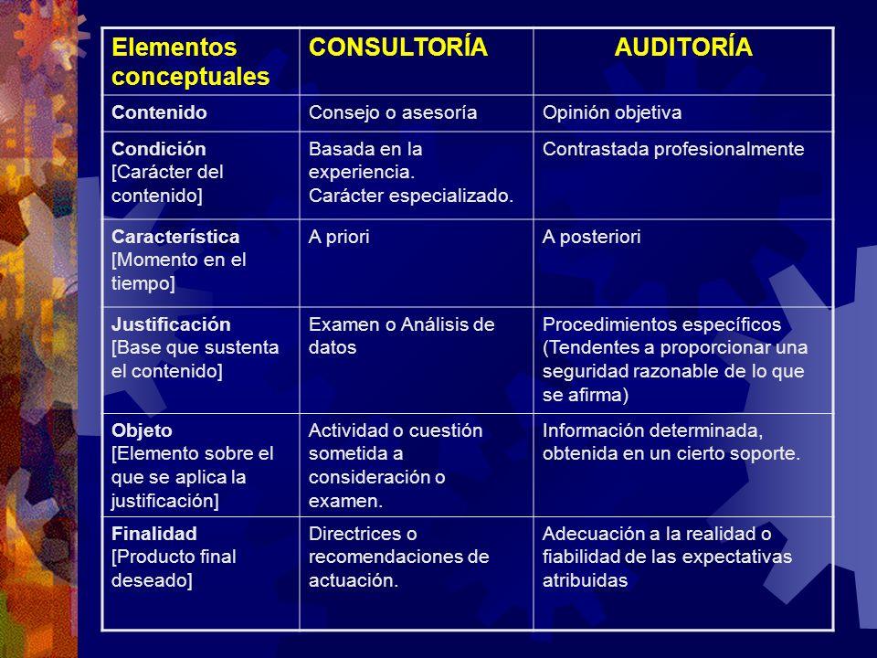 Elementos conceptuales CONSULTORÍA AUDITORÍA