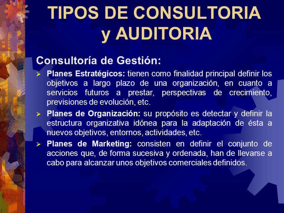 TIPOS DE CONSULTORIA y AUDITORIA