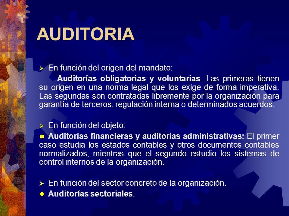 AUDITORIA En función del origen del mandato: