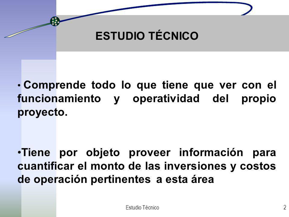 ESTUDIO TÉCNICO Comprende todo lo que tiene que ver con el funcionamiento y operatividad del propio proyecto.