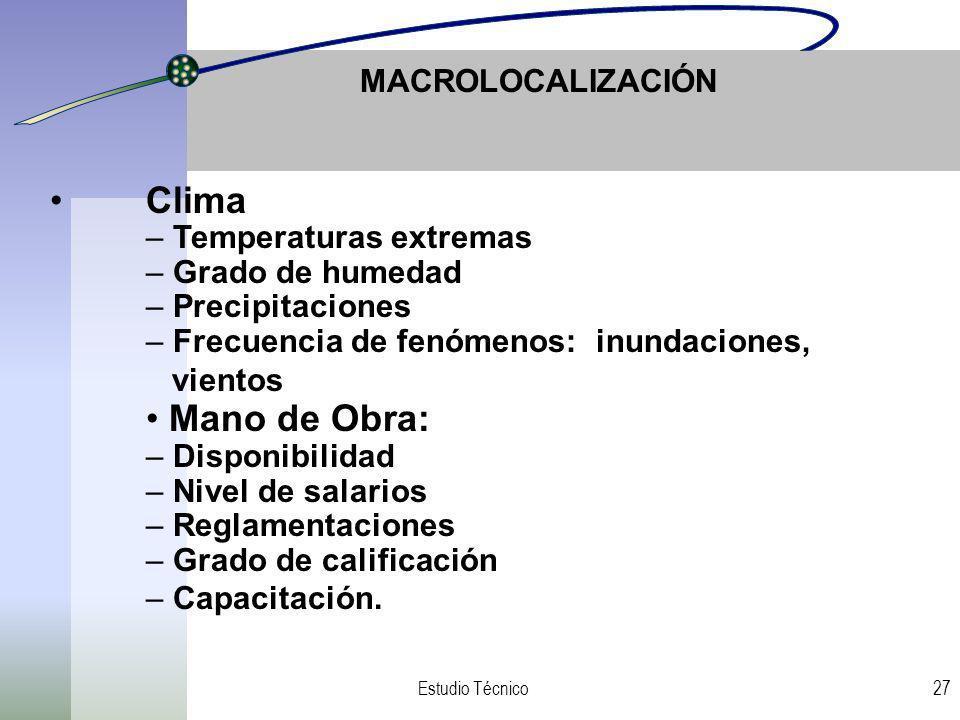 Clima Mano de Obra: MACROLOCALIZACIÓN Temperaturas extremas