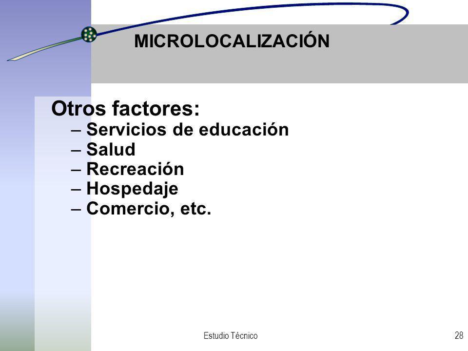 Servicios de educación Salud Recreación Hospedaje Comercio, etc.