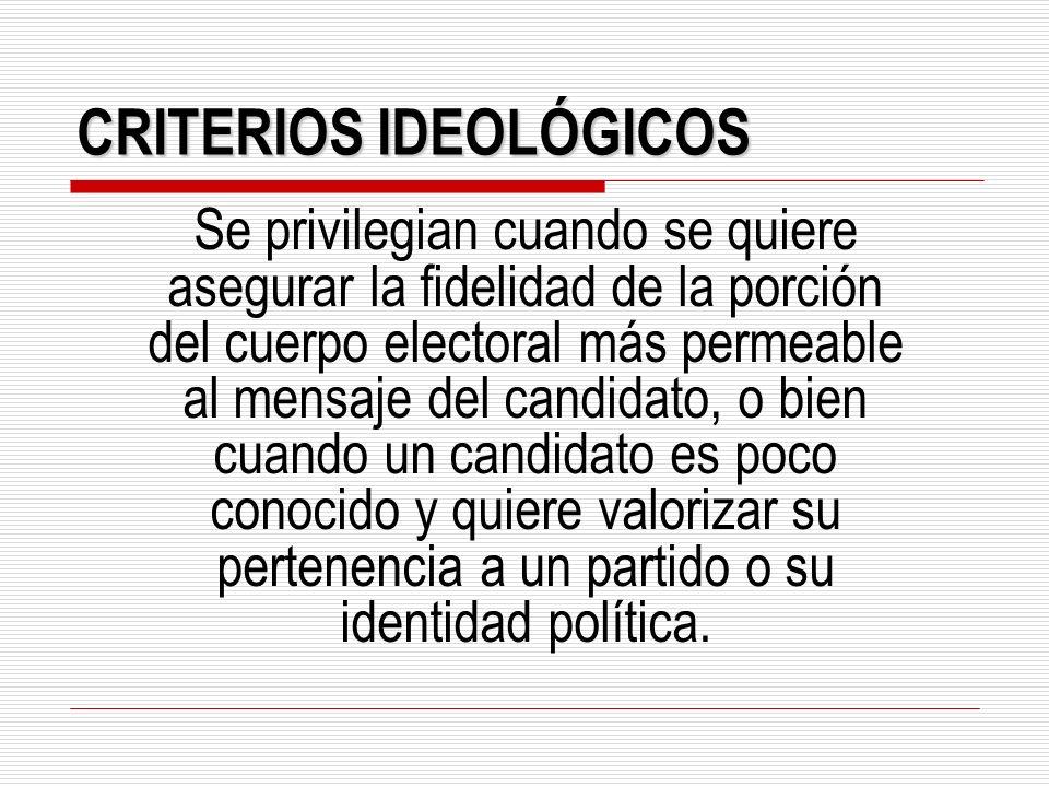 CRITERIOS IDEOLÓGICOS
