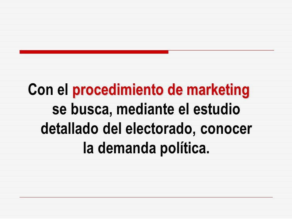 Con el procedimiento de marketing se busca, mediante el estudio detallado del electorado, conocer la demanda política.