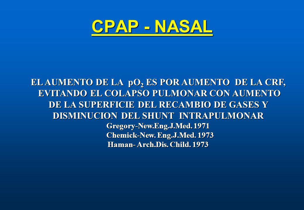 CPAP - NASAL EL AUMENTO DE LA pO2 ES POR AUMENTO DE LA CRF,