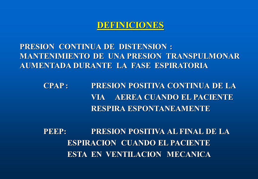 DEFINICIONES PRESION CONTINUA DE DISTENSION : MANTENIMIENTO DE UNA PRESION TRANSPULMONAR AUMENTADA DURANTE LA FASE ESPIRATORIA.
