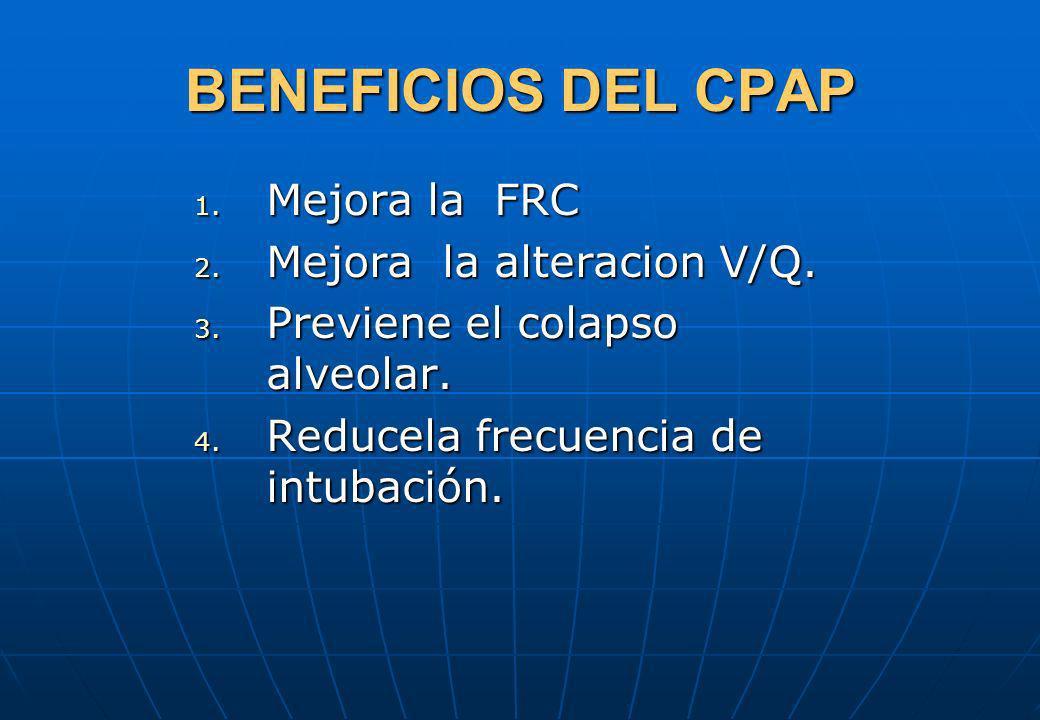 BENEFICIOS DEL CPAP Mejora la FRC Mejora la alteracion V/Q.
