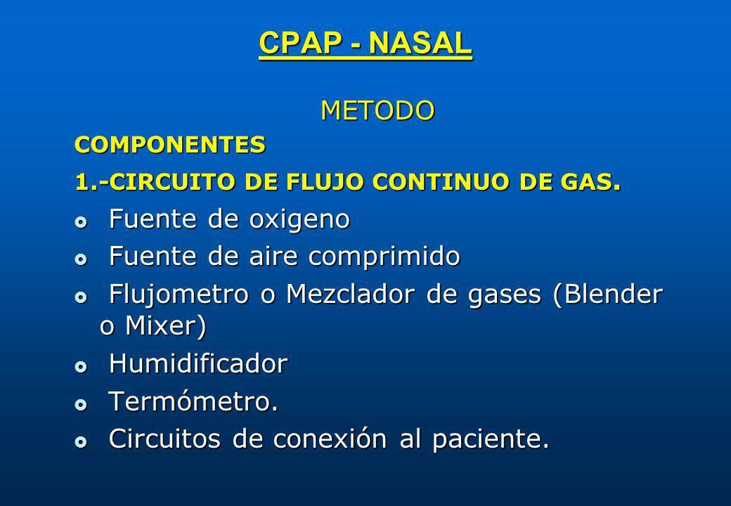 CPAP - NASAL METODO Fuente de oxigeno Fuente de aire comprimido