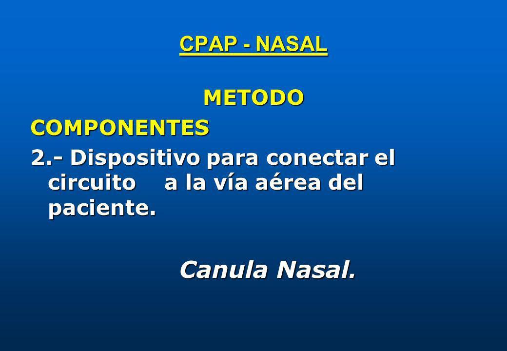CPAP - NASAL METODO. COMPONENTES. 2.- Dispositivo para conectar el circuito a la vía aérea del paciente.
