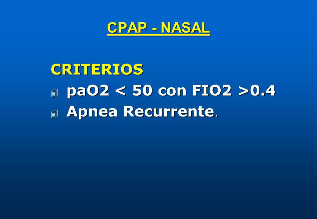 CPAP - NASAL CRITERIOS paO2 < 50 con FIO2 >0.4 Apnea Recurrente.