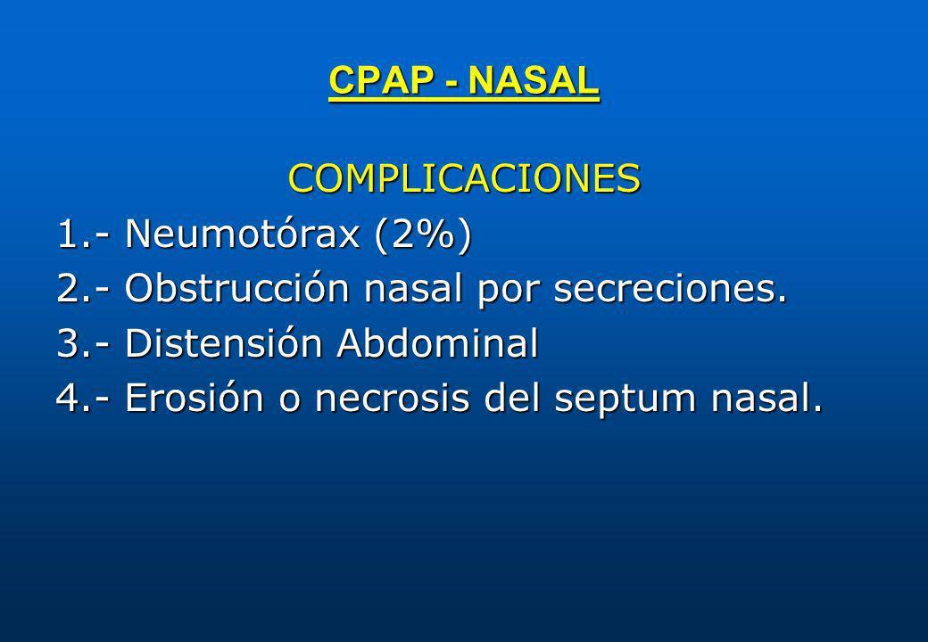 CPAP - NASAL COMPLICACIONES. 1.- Neumotórax (2%) 2.- Obstrucción nasal por secreciones. 3.- Distensión Abdominal.