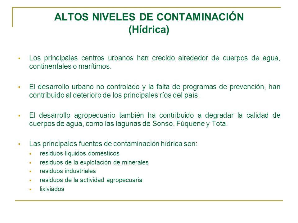 ALTOS NIVELES DE CONTAMINACIÓN (Hídrica)