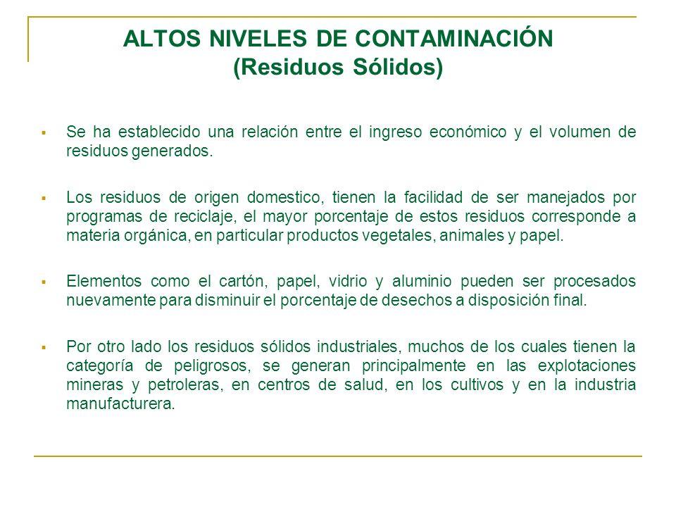 ALTOS NIVELES DE CONTAMINACIÓN (Residuos Sólidos)