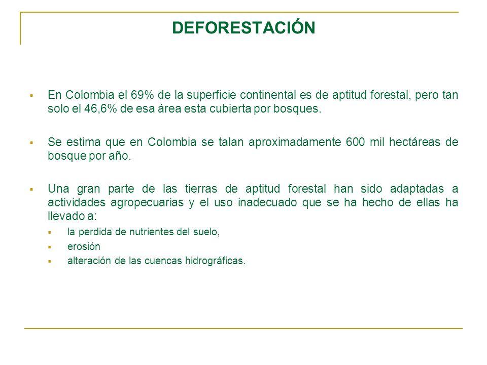 DEFORESTACIÓN En Colombia el 69% de la superficie continental es de aptitud forestal, pero tan solo el 46,6% de esa área esta cubierta por bosques.