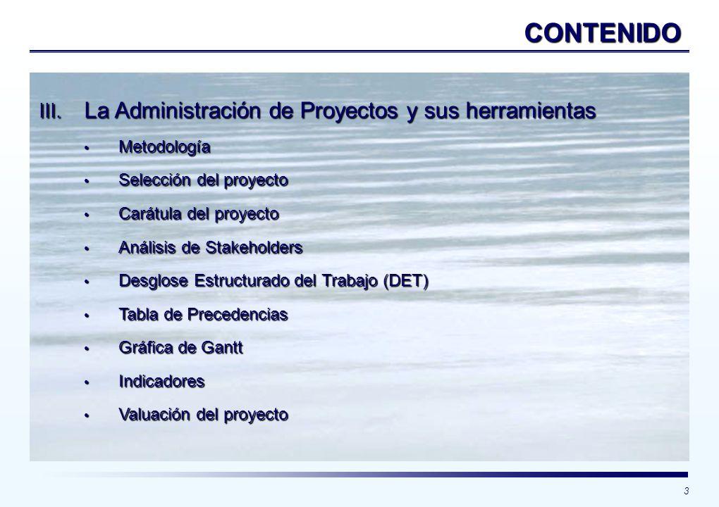 CONTENIDO La Administración de Proyectos y sus herramientas