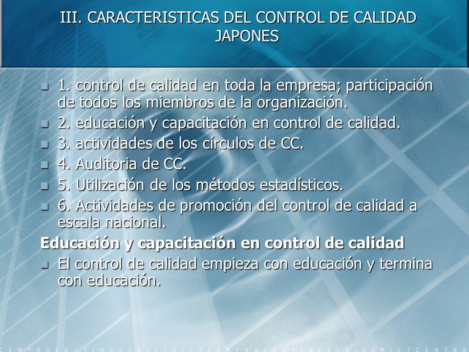 III. CARACTERISTICAS DEL CONTROL DE CALIDAD JAPONES