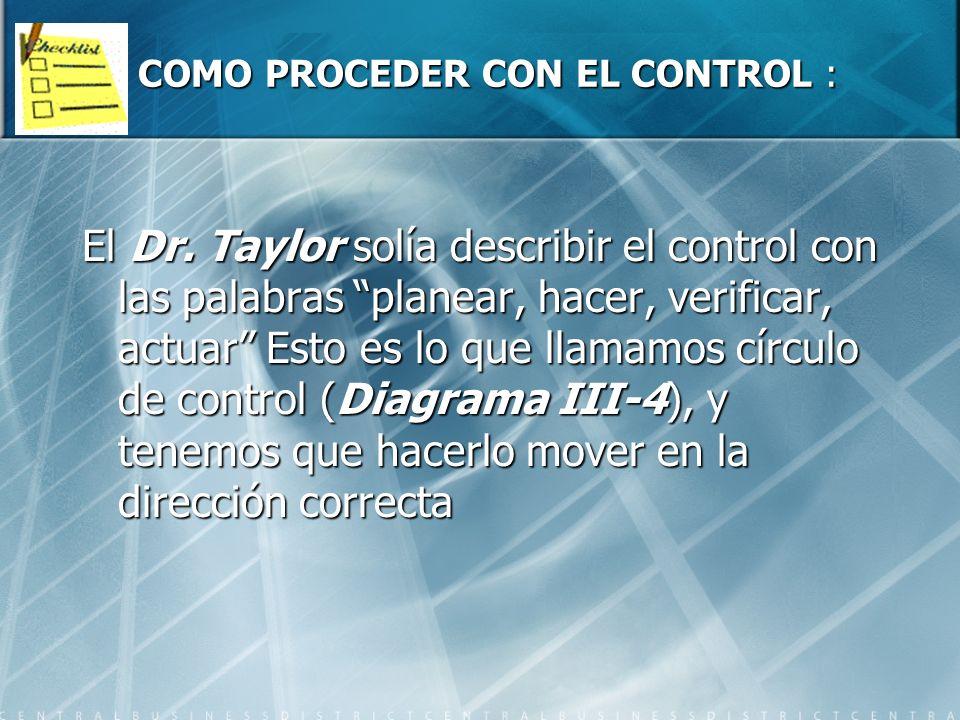 COMO PROCEDER CON EL CONTROL :