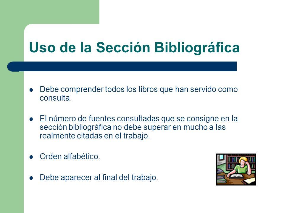 Uso de la Sección Bibliográfica