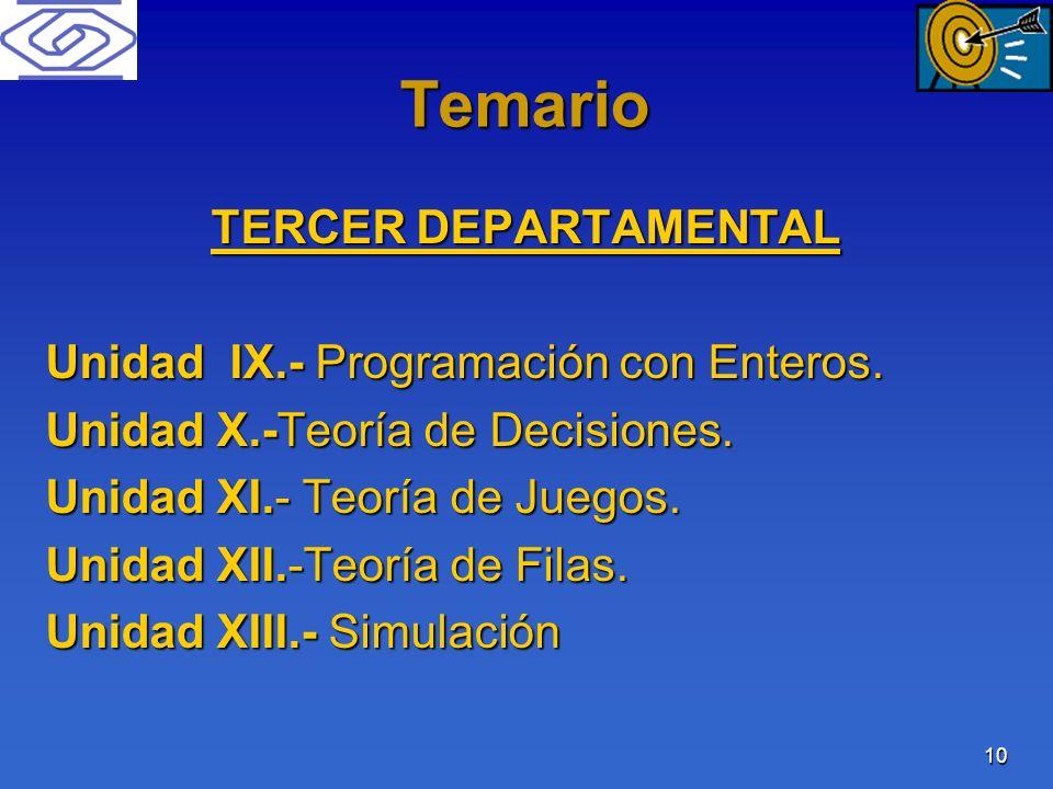 Temario TERCER DEPARTAMENTAL Unidad IX.- Programación con Enteros.