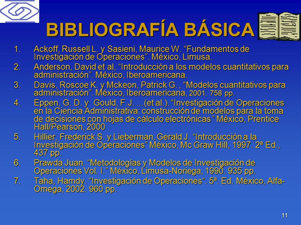 BIBLIOGRAFÍA BÁSICA Ackoff, Russell L. y Sasieni, Maurice W. Fundamentos de Investigación de Operaciones . México, Limusa.