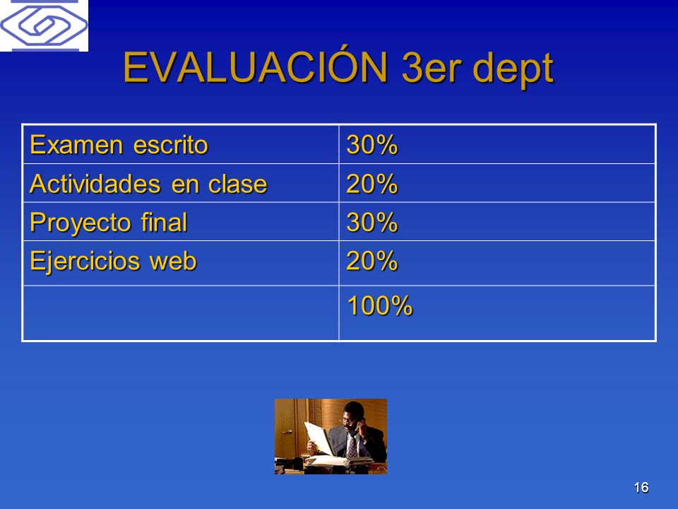EVALUACIÓN 3er dept Examen escrito 30% Actividades en clase 20%