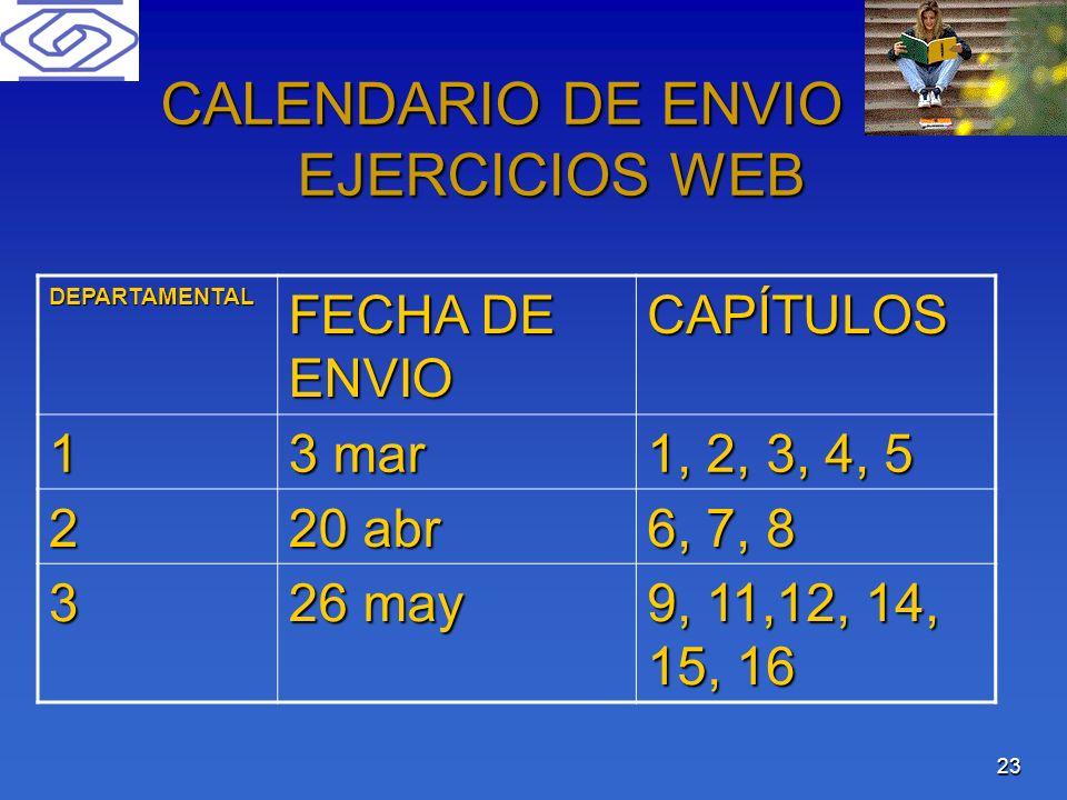 CALENDARIO DE ENVIO DE EJERCICIOS WEB
