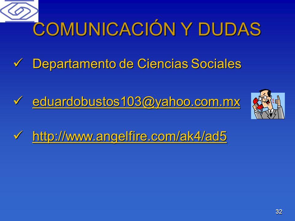COMUNICACIÓN Y DUDAS Departamento de Ciencias Sociales