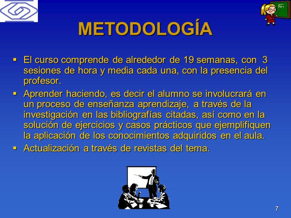 METODOLOGÍA El curso comprende de alrededor de 19 semanas, con 3 sesiones de hora y media cada una, con la presencia del profesor.