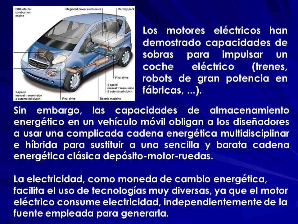 Los motores eléctricos han demostrado capacidades de sobras para impulsar un coche eléctrico (trenes, robots de gran potencia en fábricas, ...).