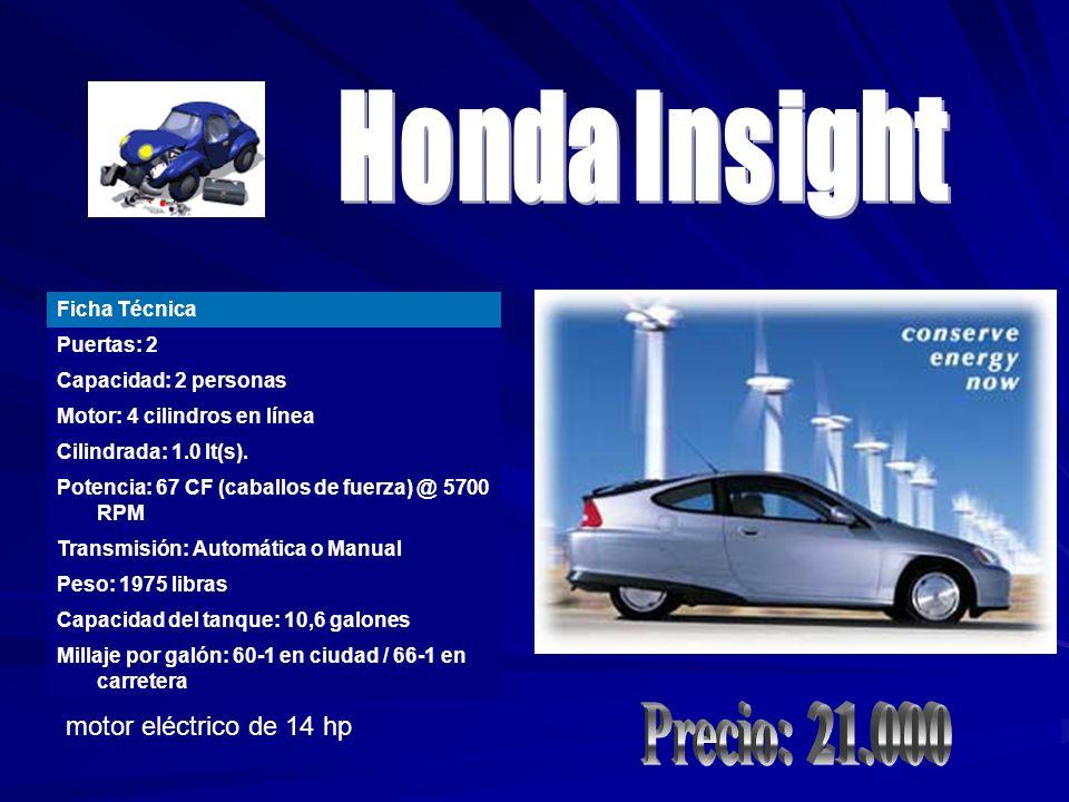 Honda Insight Precio: 21.000 motor eléctrico de 14 hp Ficha Técnica