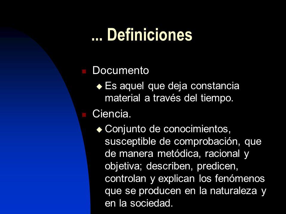 ... Definiciones Documento Ciencia.