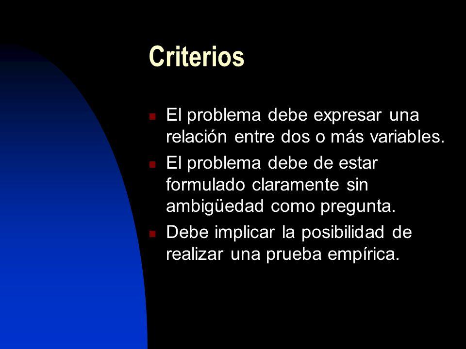 CriteriosEl problema debe expresar una relación entre dos o más variables.