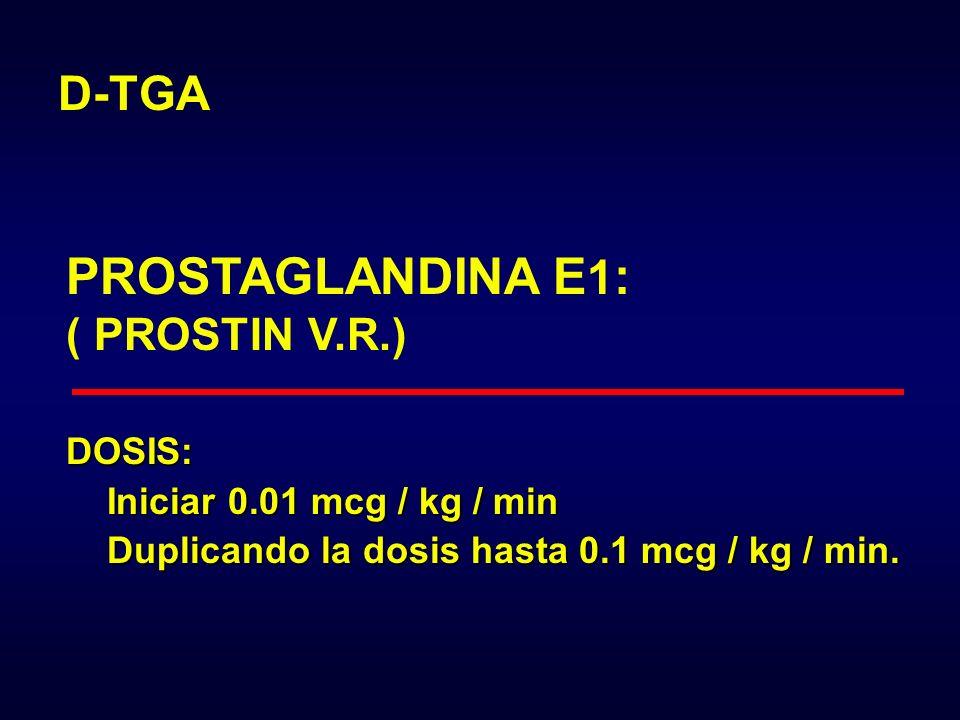PROSTAGLANDINA E1: D-TGA ( PROSTIN V.R.) DOSIS: