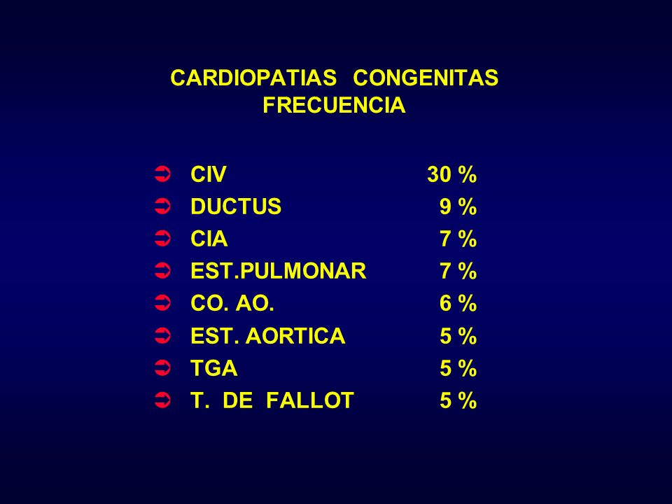 CARDIOPATIAS CONGENITAS FRECUENCIA