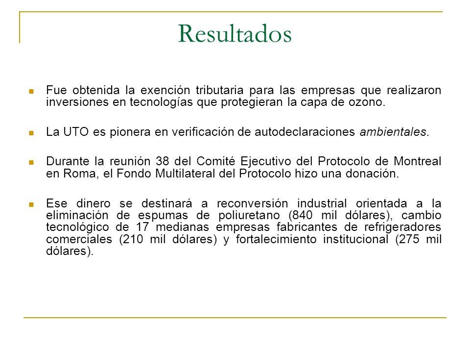 Resultados Fue obtenida la exención tributaria para las empresas que realizaron inversiones en tecnologías que protegieran la capa de ozono.