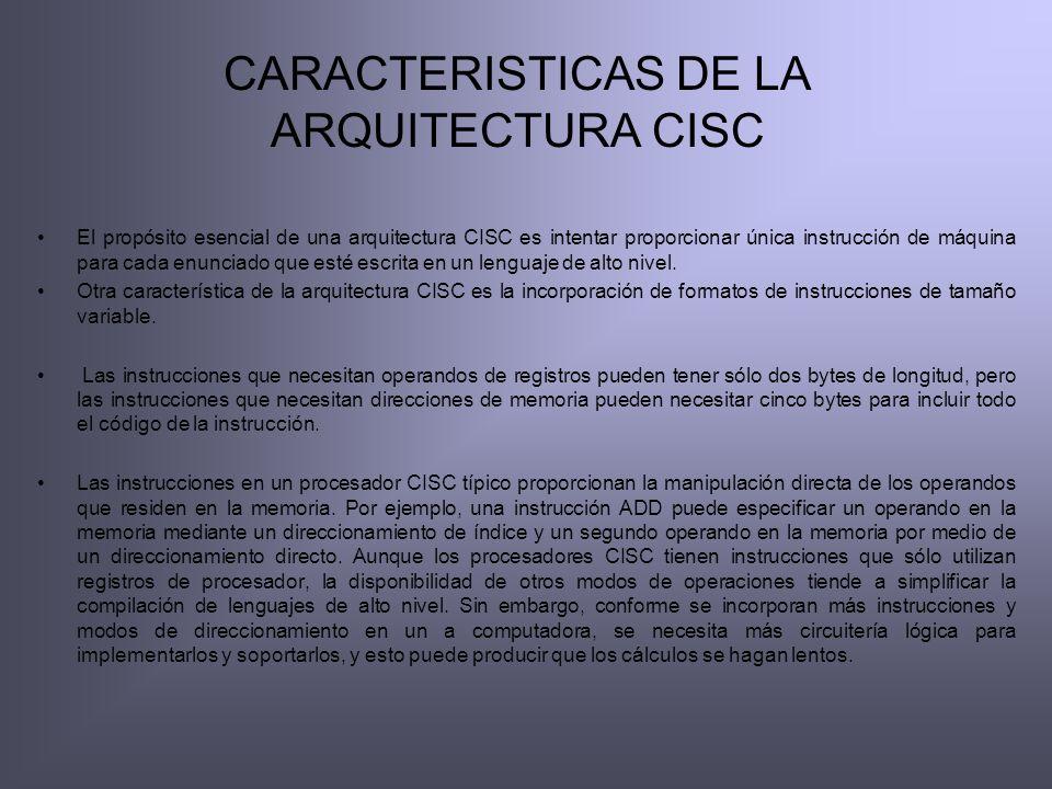 CARACTERISTICAS DE LA ARQUITECTURA CISC