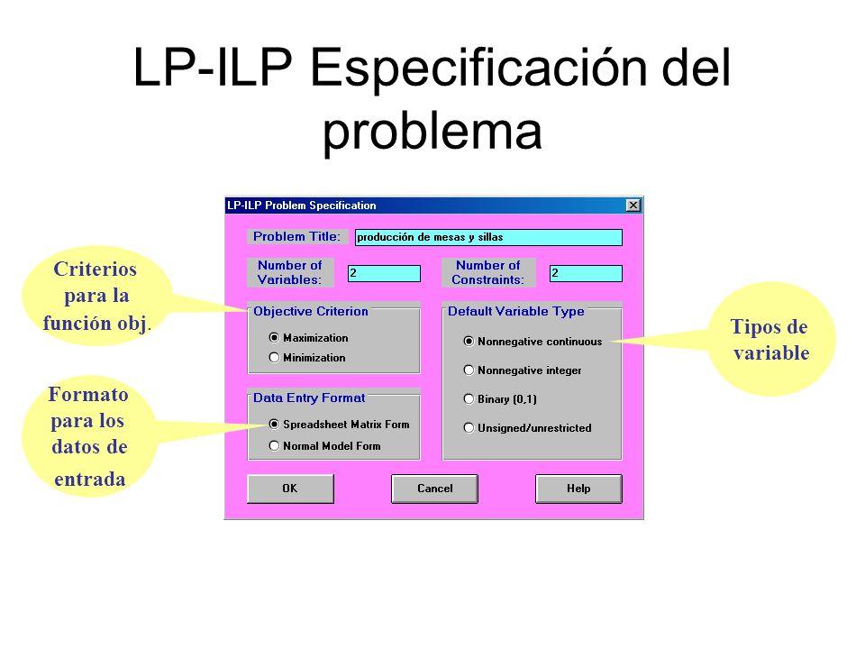 LP-ILP Especificación del problema
