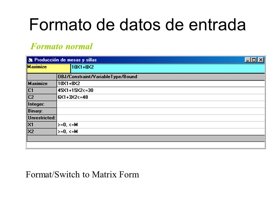 Formato de datos de entrada