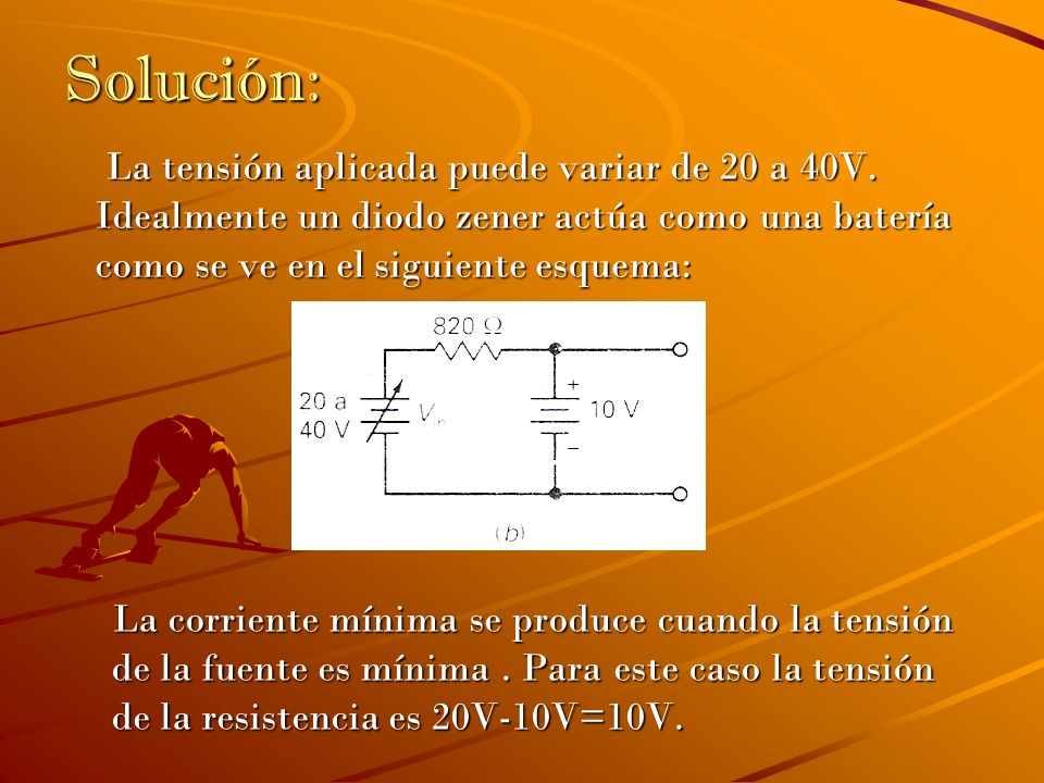 Solución: La tensión aplicada puede variar de 20 a 40V. Idealmente un diodo zener actúa como una batería como se ve en el siguiente esquema: