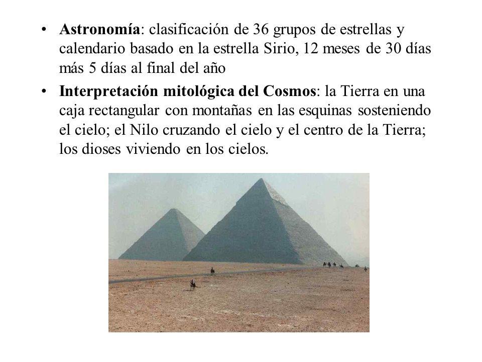 Astronomía: clasificación de 36 grupos de estrellas y calendario basado en la estrella Sirio, 12 meses de 30 días más 5 días al final del año