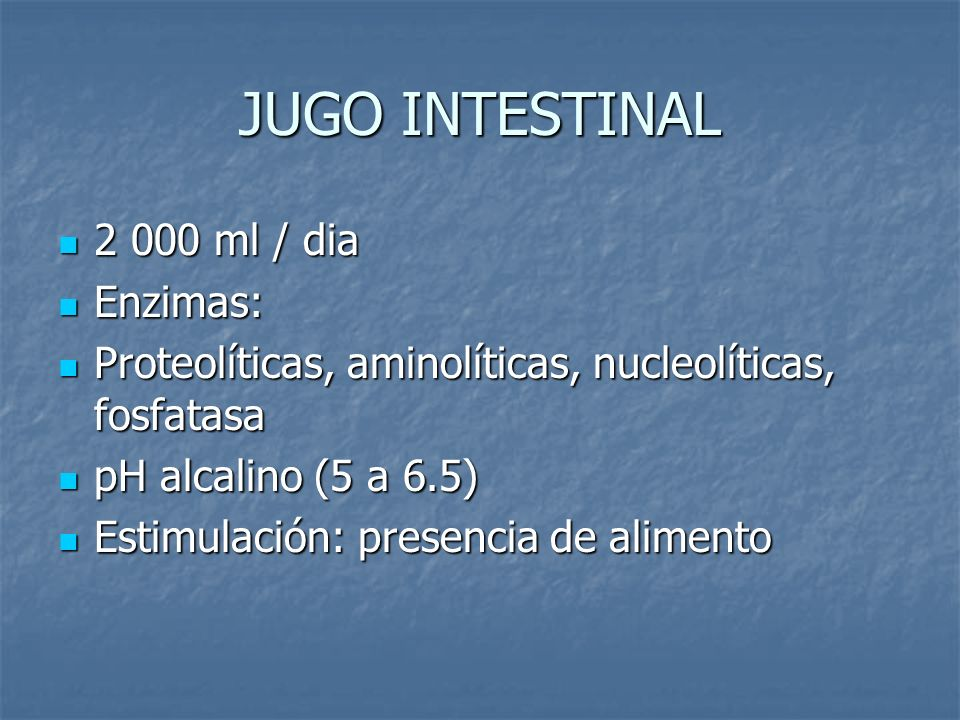 JUGO INTESTINAL ml / dia Enzimas: