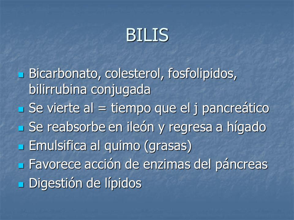 BILIS Bicarbonato, colesterol, fosfolipidos, bilirrubina conjugada