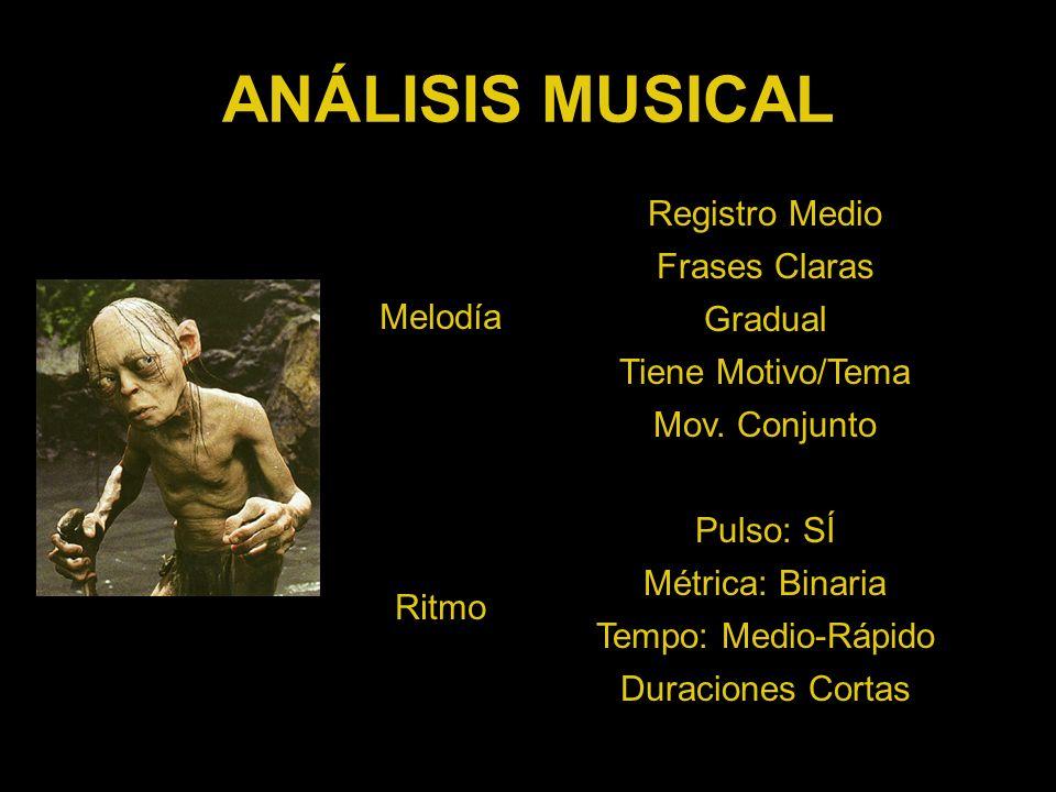 ANÁLISIS MUSICAL Registro Medio Melodía Frases Claras Gradual