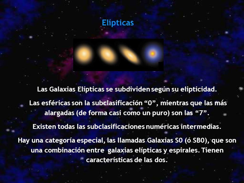 Elípticas Las Galaxias Elípticas se subdividen según su elipticidad.