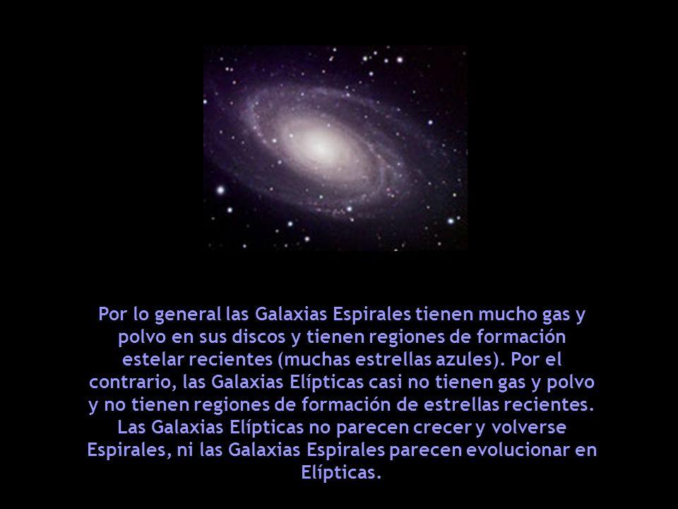 Por lo general las Galaxias Espirales tienen mucho gas y polvo en sus discos y tienen regiones de formación estelar recientes (muchas estrellas azules). Por el contrario, las Galaxias Elípticas casi no tienen gas y polvo y no tienen regiones de formación de estrellas recientes.
